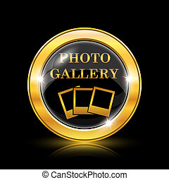Photo gallery icon - Golden shiny icon on black background...