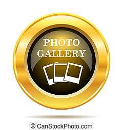 Photo gallery icon. Internet button on white background.