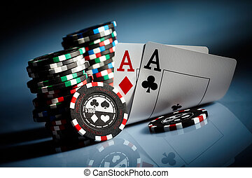 gambling chips - Photo gambling chips on the dark