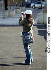 Photo Girl - Girl taking digital photograph in Cardiff Bay