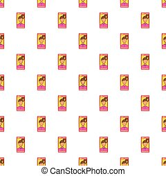 Photo girl in mobile pattern, cartoon style