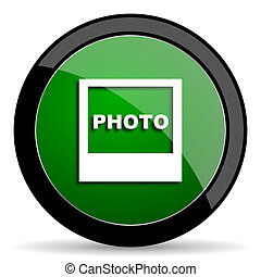 photo green web glossy icon with shadow on white background