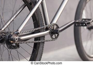 photo, gros plan, chaîne bicyclette