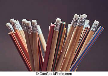 photo, gros plan, groupe, pencils., multicolore