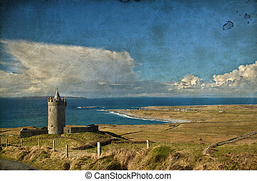 old ancient irish castle in west of ireland - photo grunge...