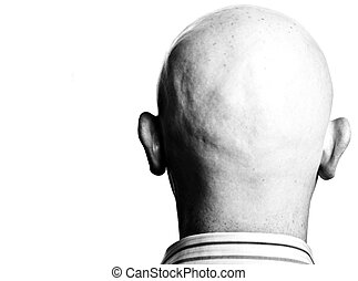 high contrast dark moody close up male shaved bald head -...