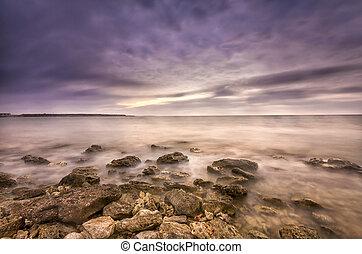 Photo high dynamic range of the sunset