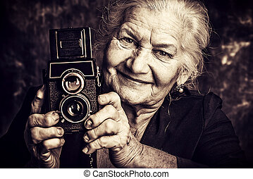photo hobby - Portrait of a beautiful old lady with her old...