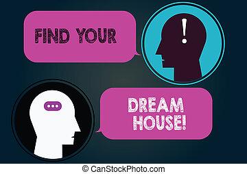 photo, house., recherche, bavarder, maison, ton, parfait, appartement, têtes, écriture, trouver, parole, conceptuel, messager, punctuations., business, projection, main, bulles, salle, showcasing, propriété, rêve