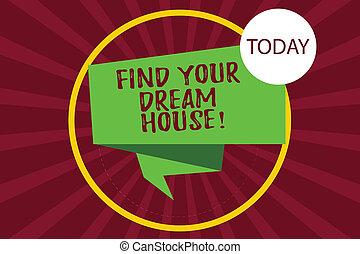 photo, house., recherche, signe, bande, maison, ton, ruban, parfait, appartement, plié, trouver, texte, conceptuel, cercle, sunburst, 3d, photo., projection, halftone, intérieur, propriété, rêve, boucle