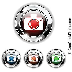 Photo icon, button, vector illustra