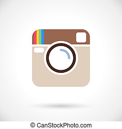 Photo icon in instagram style on white background