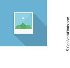 Photo icon , Flat design style, vector illustration. long shadow icon.