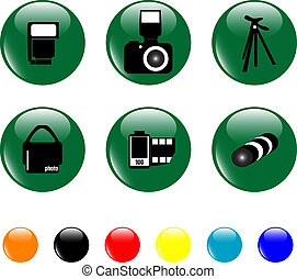 photo icon set objects green button