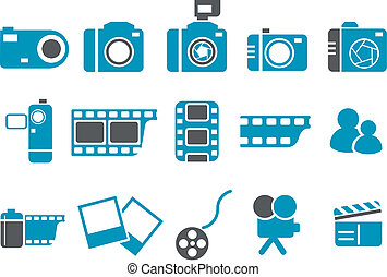 Photo icon set - Vector icons pack - Blue Series, photo...