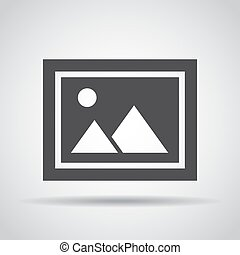 Photo icon with shadow on a gray background. Vector illustration