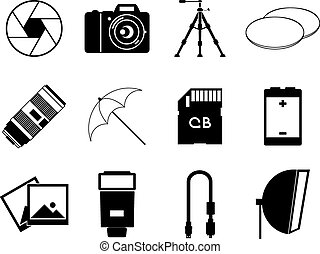 photo icons accessories set vector illustration