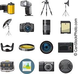 Photo icons set, catoon style