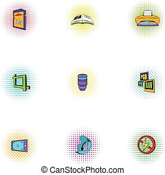 Photo icons set, pop-art style
