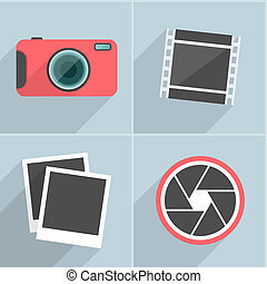 Photo icons with long shadow. Vector illustration.