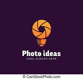 Photo Ideas Abstract Vector Logo Template. Shutter and Light Bulb Concept Symbol. Diaphragm Icon. Photography Sign. Orange Gradient.
