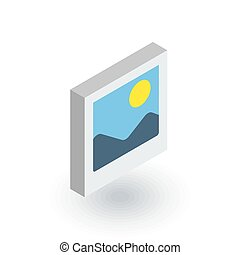 photo image, photography file, picture gallery isometric flat icon. 3d vector