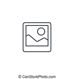 photo image, photography file, picture gallery thin line icon. Linear vector symbol