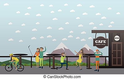 Photo in cafe concept vector illustration, flat design