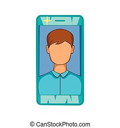Photo in mobile phone icon, cartoon style