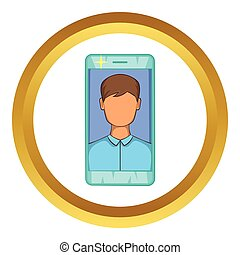 Photo in mobile phone vector icon