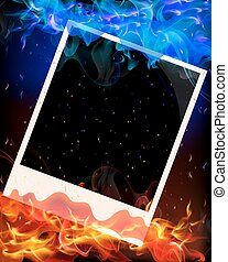 Photo in red and blue flame