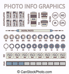 Photo infographics set, vector illustration, part two