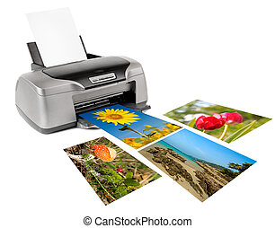 printer - photo inkjet printer, on white background;...