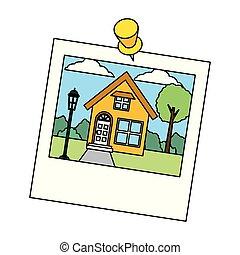 photo, jardin, épingle, maison
