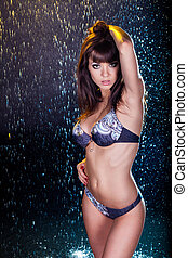 photo., junger, wasser, studio, sexy, woman.