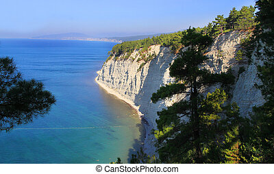 Photo landscape of rocks with trees the sea