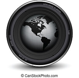 Photo lens - Camera photo lens with earth globe inside, ...