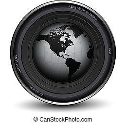 Photo lens - Camera photo lens with earth globe inside, ...
