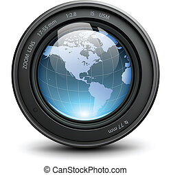 Photo lens - Camera photo lens with earth globe inside,...