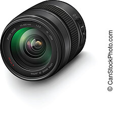 Photo lens - Camera photo lens, realistic vector...