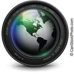 Photo lens - Camera photo lens with earth globe inside,...