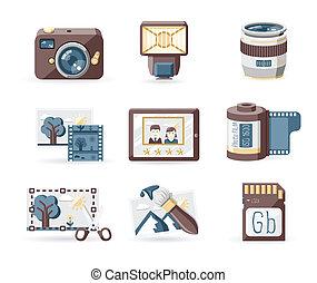 photo, livre, ensemble, icônes