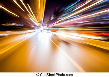 photo, lumières, brouillé, trafic, longue exposition