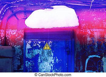 Photo macro background of a fragment of the brick door