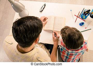 photo, maison, fils, portion, sommet, papa, tâche, sien, vue