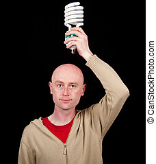 photo male holding a light bulb, business concept