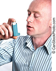 male with inhaler on white backdrop