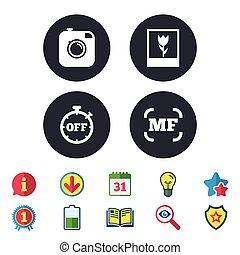 photo, manuel, foyer, appareil photo, macro, icon., signs.