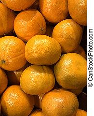 Photo many oranges on the counter supermarket