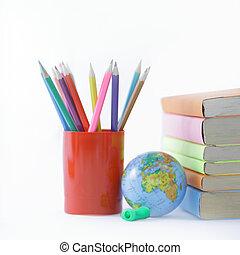.photo, matite, globo, programmazione strutturata, libri, fondo, bianco, copia
